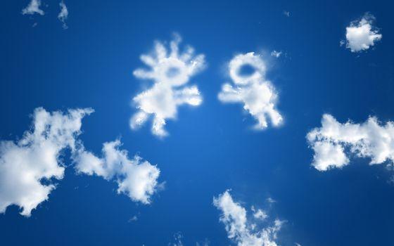 Бесплатные фото небо,облака,силуэты,девочка,мальчик,встреча,обнимашки