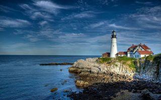 Бесплатные фото море,берег,скалы,камни,маяк,дом,строение