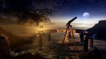 Заставки ветвь,дерево,ночь,лампа,телескоп,небо,трава