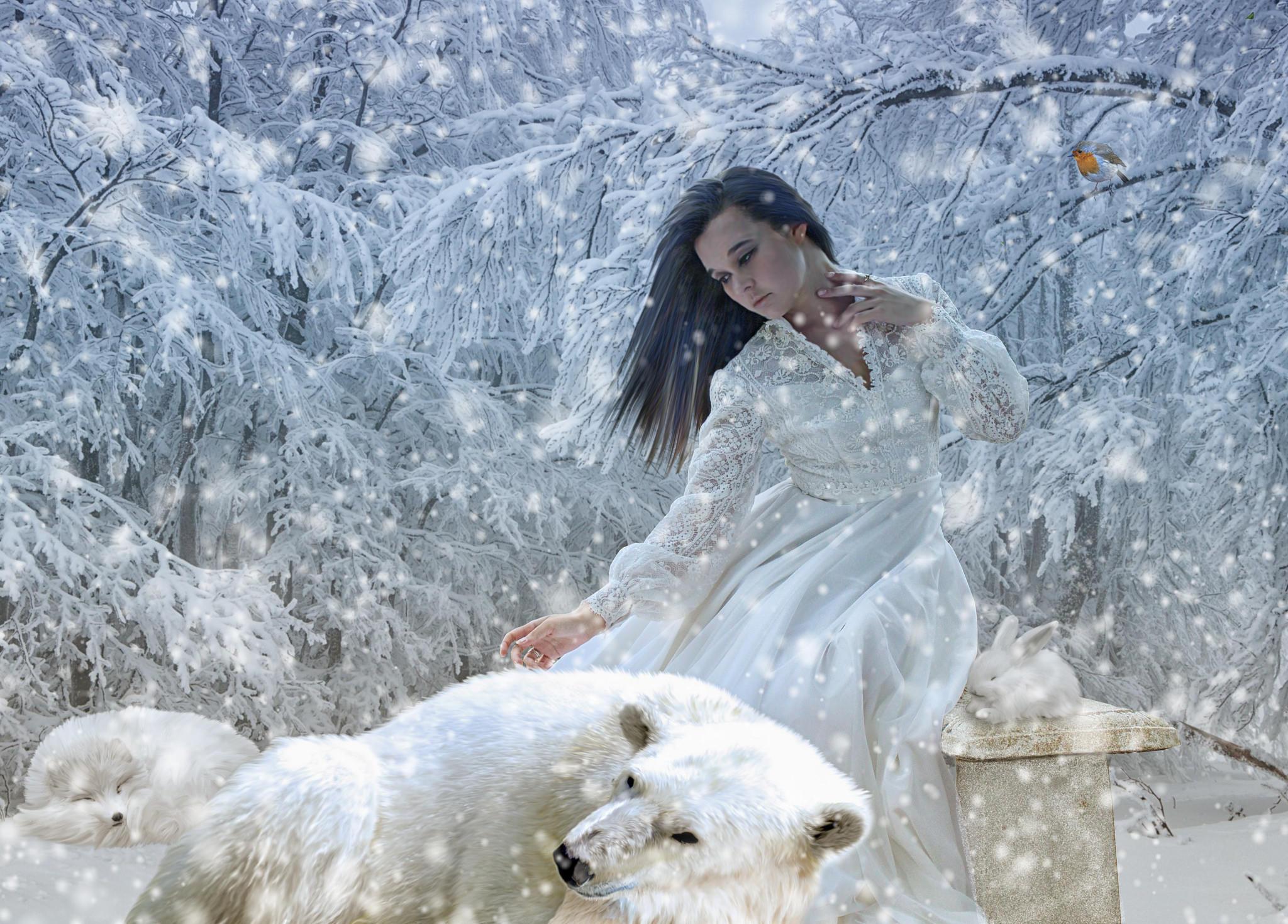 Обои зима, снег, девушка, медведь