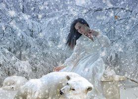 Бесплатные фото зима,снег,девушка,медведь,кролик,фантазия