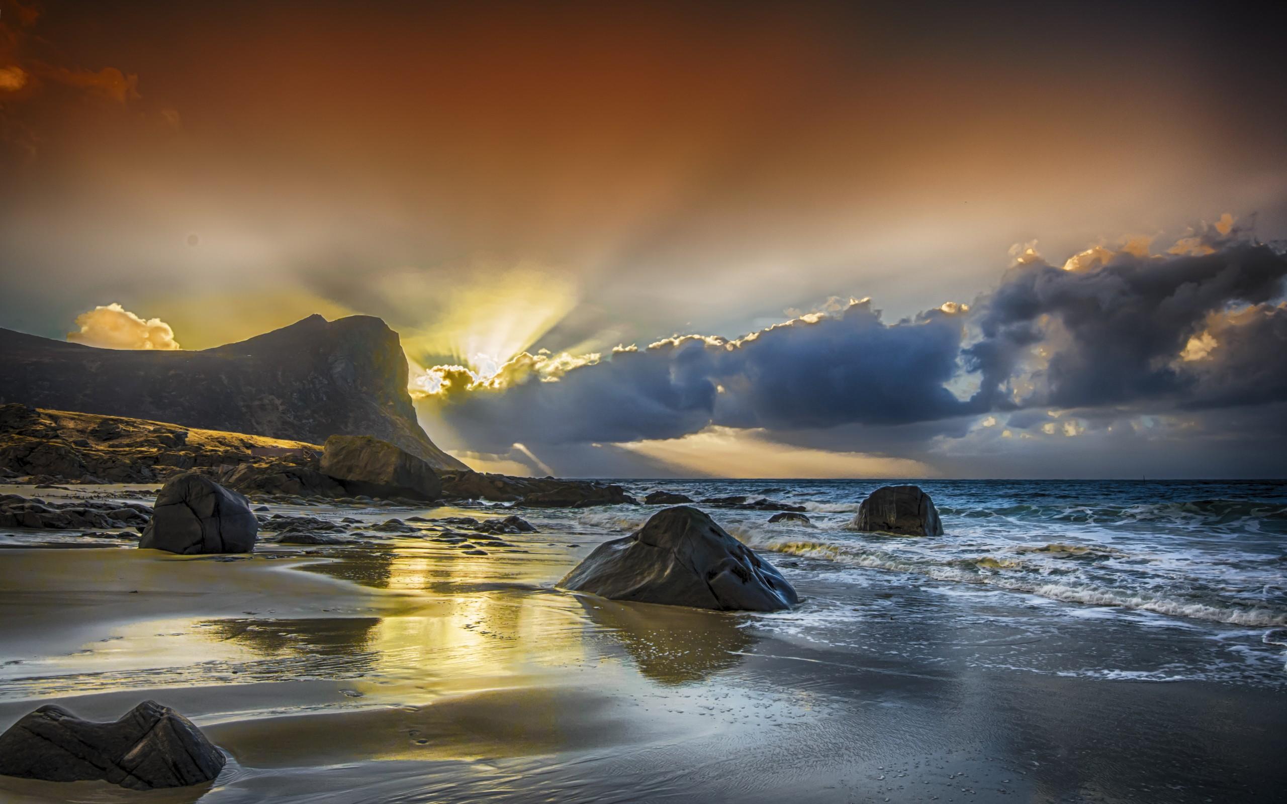природа закат горы скалы море камни небо  № 616932 загрузить