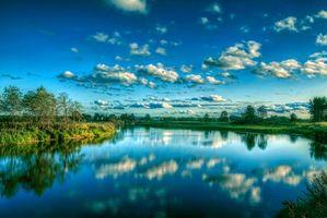 Заставки закат, река, деревья