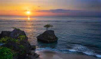 Заставки Бали, Индонезия, море, скалы, берег, пляж, закат