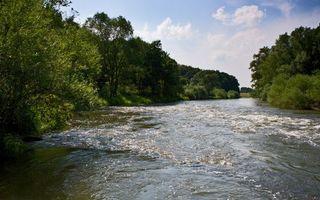 Фото бесплатно река, течение, берега, деревья, кустарник, небо, облака