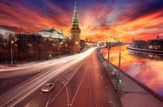 Фото бесплатно Кремль, Москва, Закат