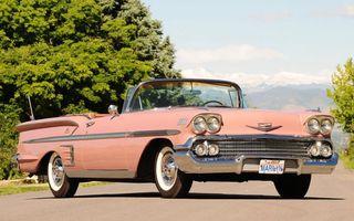 Заставки ретро автомобиль, шевроле, кабриолет, розовый, фары, решетка, диски, хром