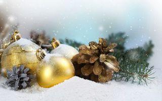 Фото бесплатно Новогодние шары и шишки, снег, еловые ветки, шишки, шары