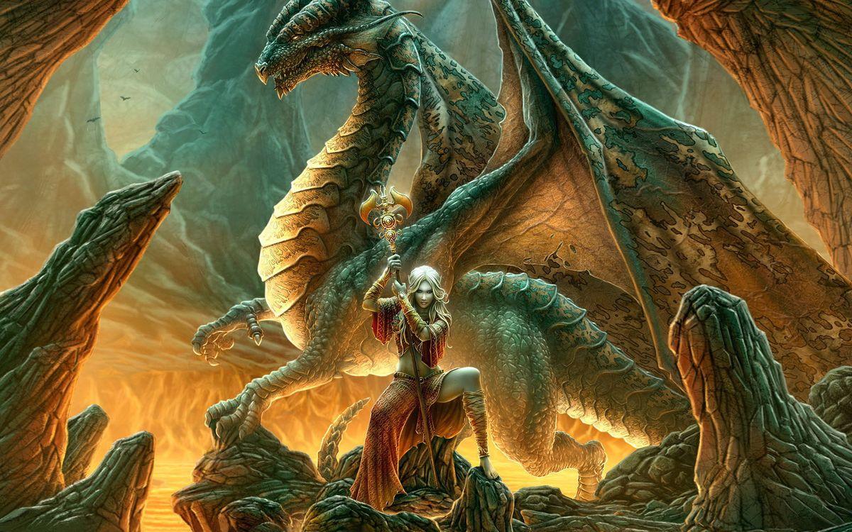 Фото бесплатно жерло, лава, колдунья, посох, дракон, крылья, фантастика