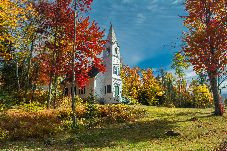 обои Нью-Гемпшир, Новая Англия, церковь осень, деревья картинки фото