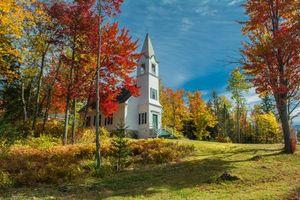 Заставки Нью-Гемпшир, Новая Англия, церковь осень