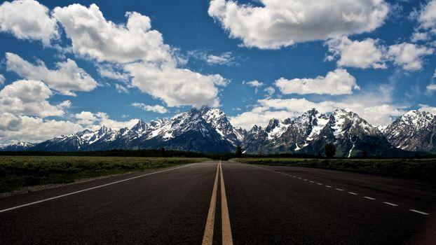 Фото бесплатно шоссе, горы, облака