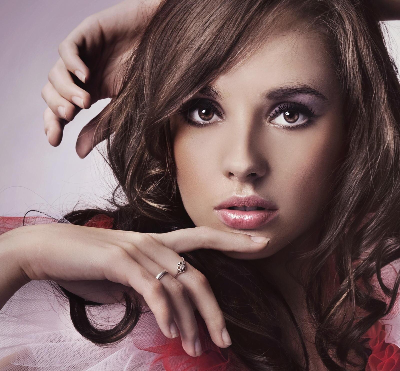 обои девушка, модель, Анна Субботина, макияж картинки фото