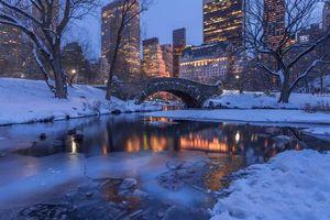 Бесплатные фото Центральный парк Нью-Йорк вечер,Gapstow Bridge
