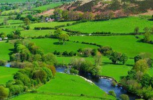 Фото бесплатно Уэльс, Великобритания, Северная Ирландия, река, поля, деревья, дома, вид с верху, пейзаж