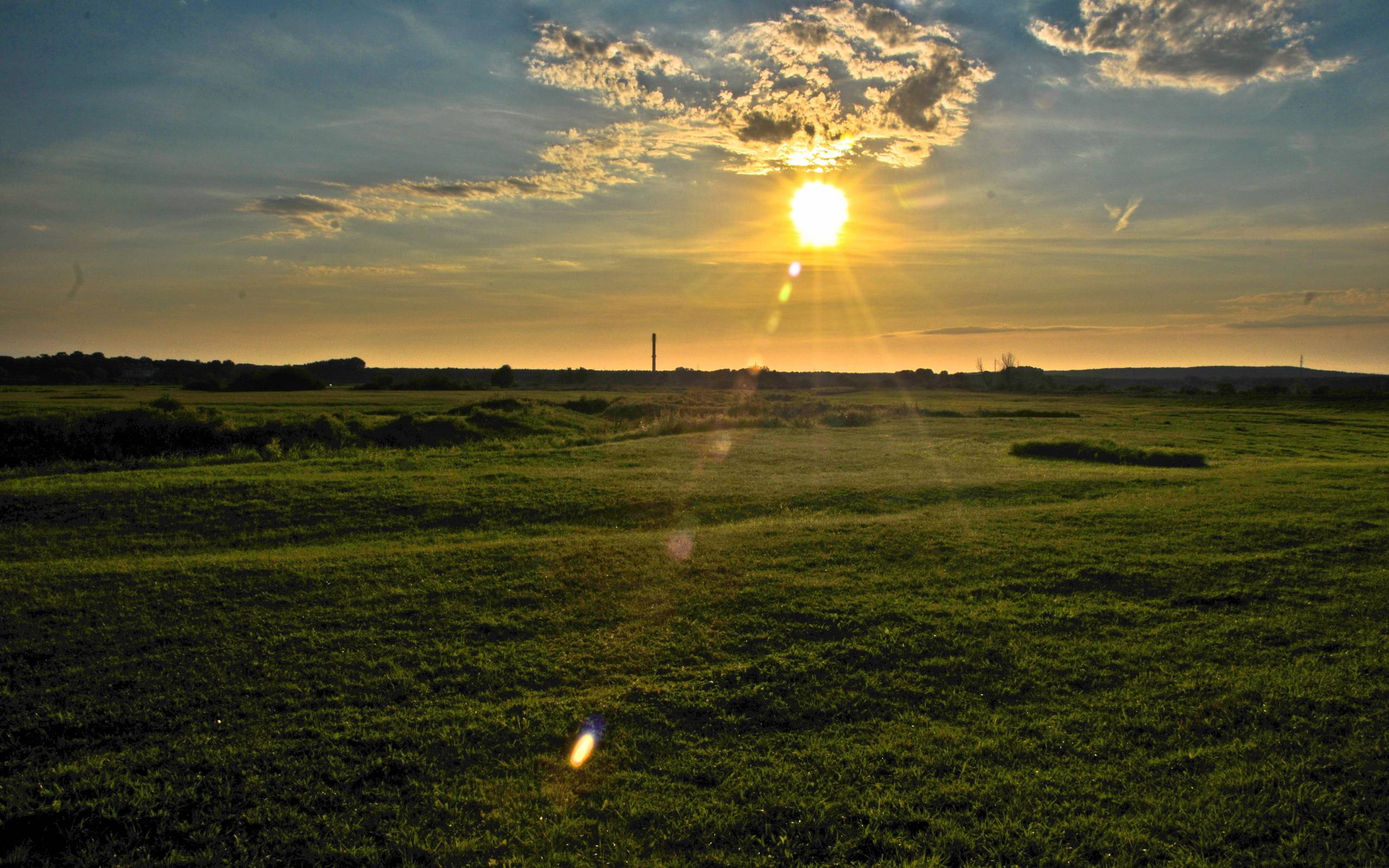 Солнце перед закатом на поле бесплатно
