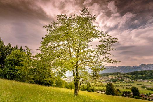 Фото бесплатно закат, горы, холмы