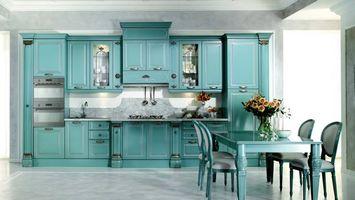 Бесплатные фото кухня, стол, мебель, голубой, ваза
