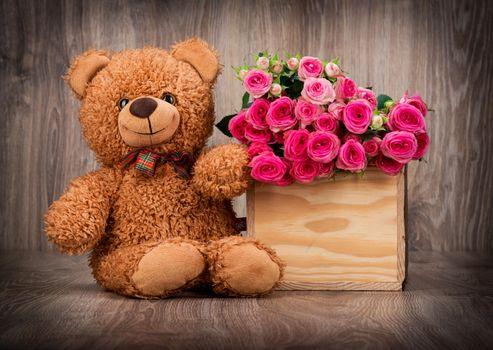 Фото бесплатно плюшевый мишка, цветы, розы