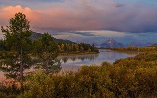 Заставки река, горы, осень, деревья