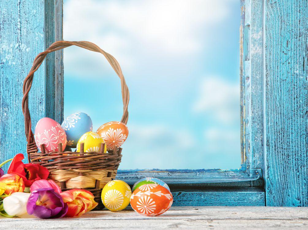 Фото бесплатно весна, окно, рама, пасха, пасхальные яйца, тюльпаны, с праздником пасхи, праздники