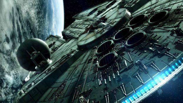 Фото бесплатно космический корабль, планета, звездные войны