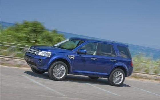 Фото бесплатно land rover, freelander 2, автомобиль, синий, внедорожник, размытость, море, машины