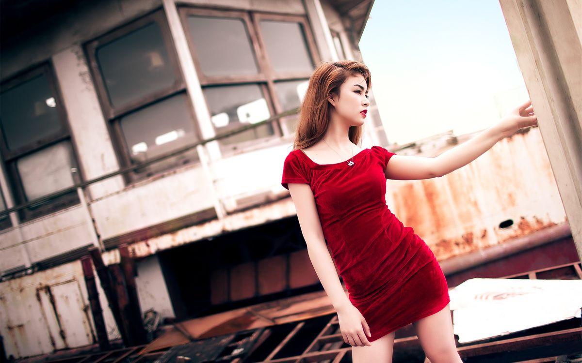 Фото бесплатно девушка, платье, красное - на рабочий стол