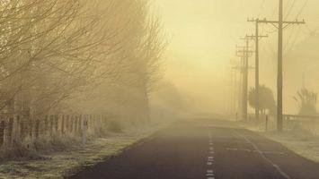 Заставки дорога, разметка, туман, забор, столбы, деревья, разное