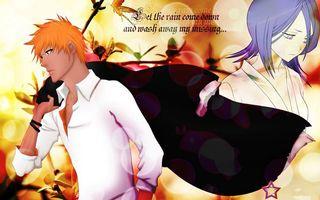 Обои ichigo, rukia, bleach, soul, reaper, black, аниме