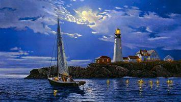 Бесплатные фото картина,маяк,ночь,луна,лодка,рыбаки,поселение