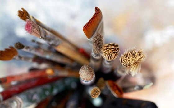 Photo free brushes, bristles, glass