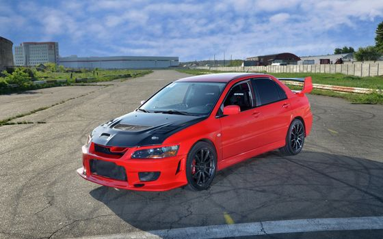 Photo free Mitsubishi, lancer, red