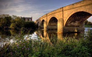 Фото бесплатно мост, река, трава