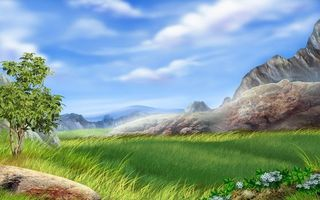 Заставки небо,трава,камень,дерево,цветы,горы,природа