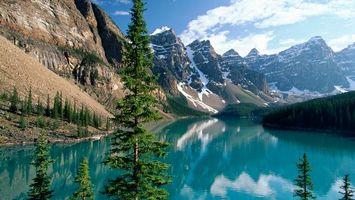 Фото бесплатно скалы, горы, река, лес, деревья, вода, природа