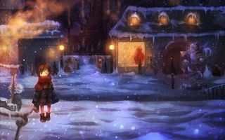 Бесплатные фото снег, девочка, зима, фонари, снегопад, вечер, разное
