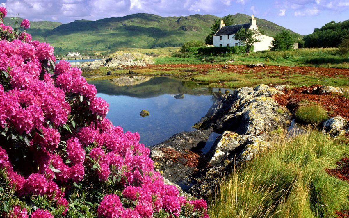 Фото бесплатно вода, река, озеро, камни, берег, дом, небо, пейзажи, пейзажи