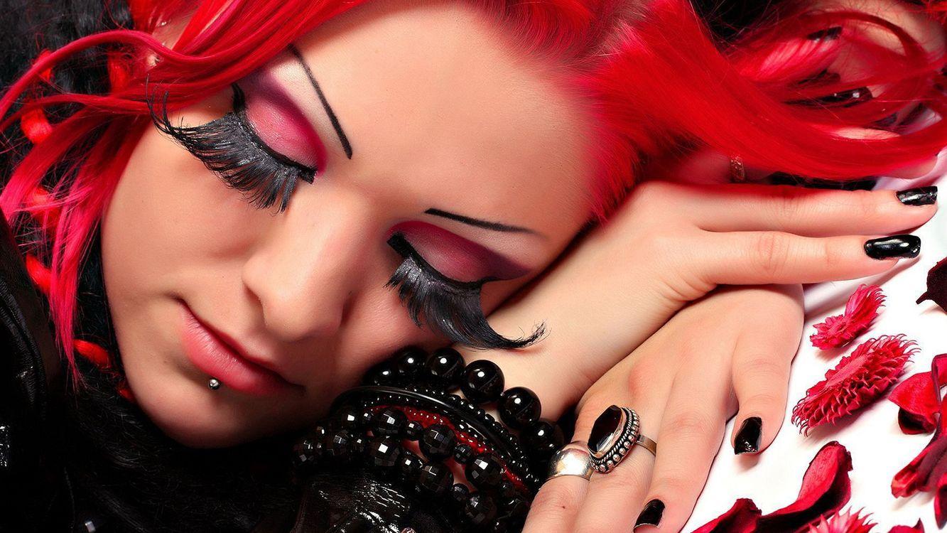 Фото бесплатно волосы, красные, ресницы - на рабочий стол
