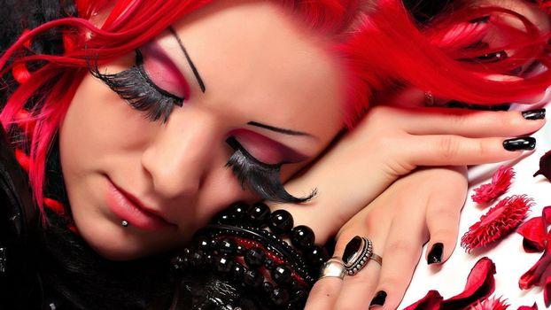 Фото бесплатно волосы, красные, ресницы