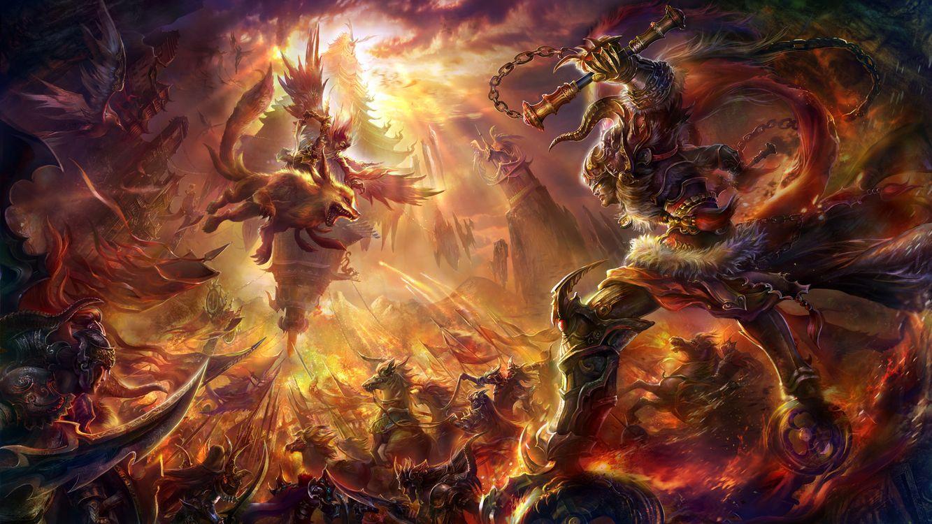 Фото бесплатно война, сражение, воины, битва, звери, чудища, волк, крылья, огонь, мультфильмы, мультфильмы