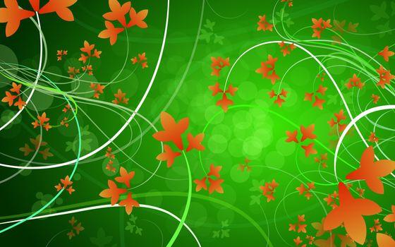 Бесплатные фото заставка,обои,цветы,зеленый,цвет,линии,узор,рисунок,графика,абстракции,разное