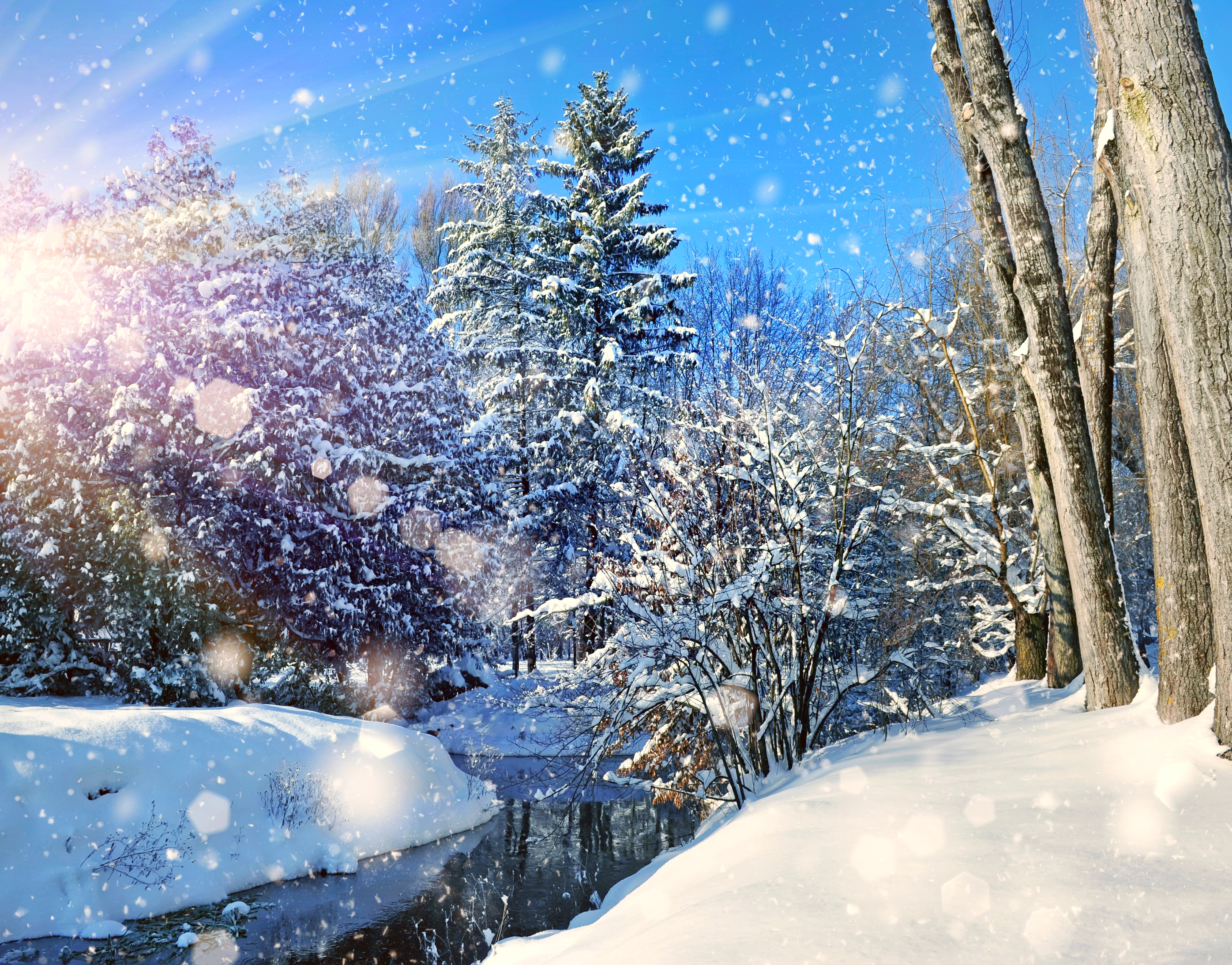зима, снег, река