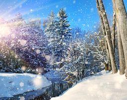 Бесплатные фото зима, снег, река, деревья, солнце, природа
