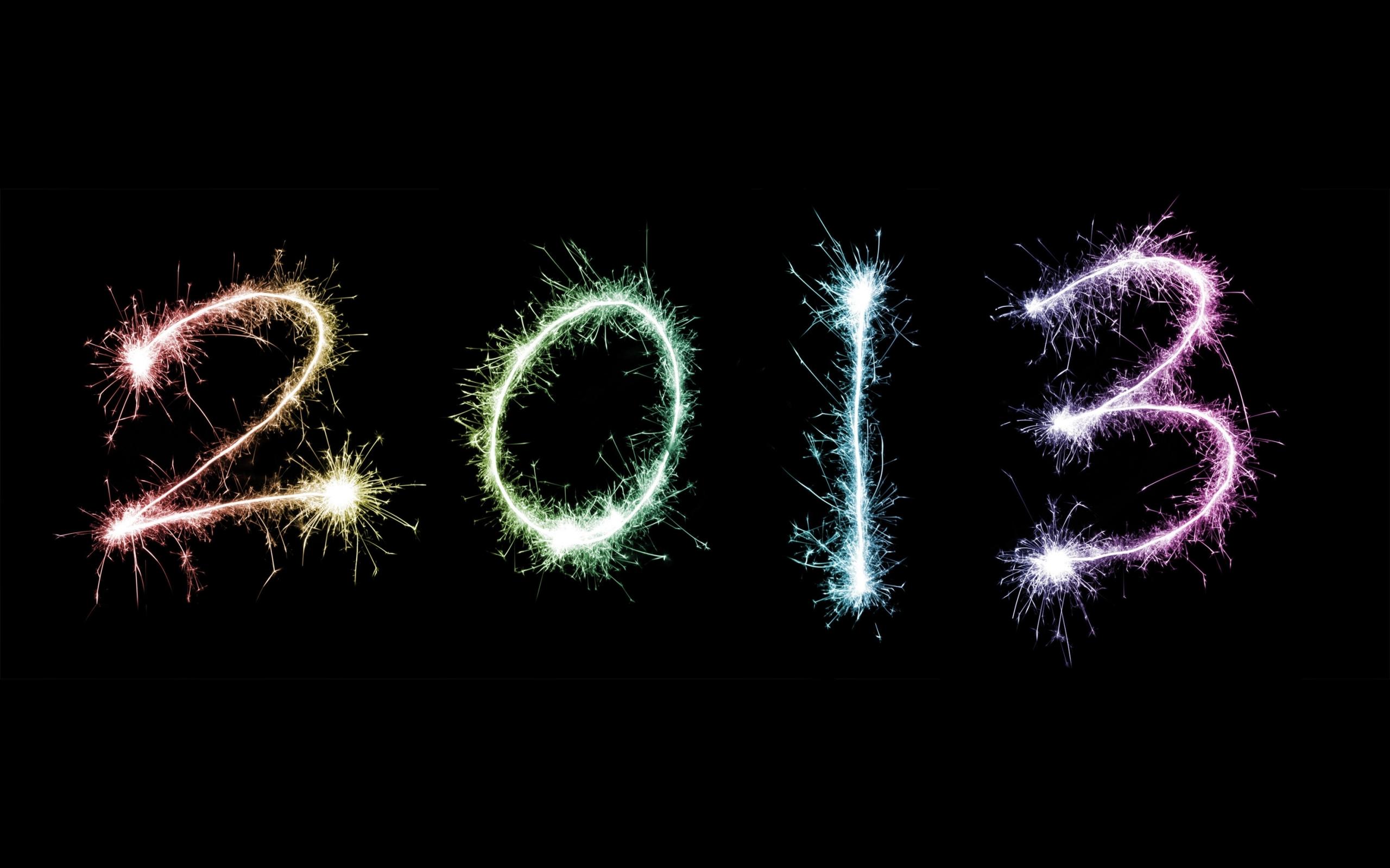 2013, надпись, искры