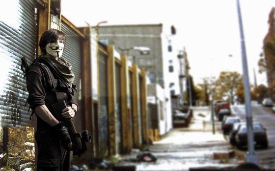 Бесплатные фото anonymous,улица,оружие,anon,анон