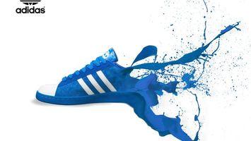 Фото бесплатно adidas, кроссовки, синий