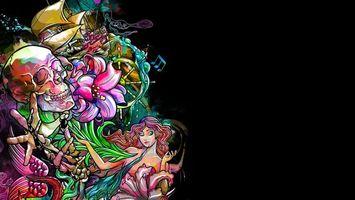 Заставки череп, девушка, цветы, штурвал, корабль, листья, абстракции