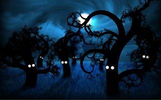 Бесплатные фото деревья,глаза,арт,небо,облака,ночь,луна