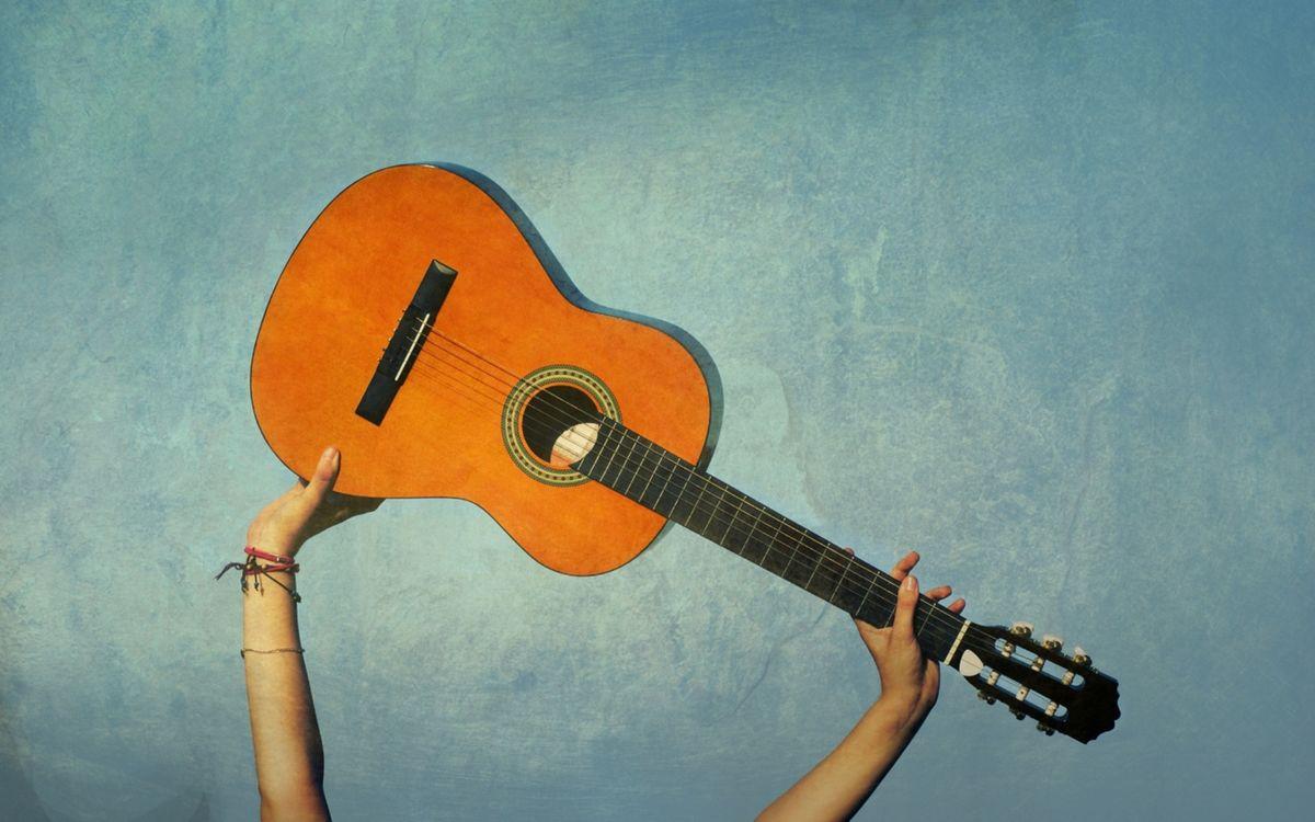 Обои гитара, акустическая, гриф картинки на телефон